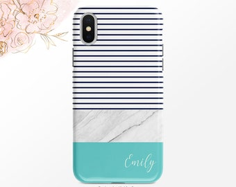0817ef3ebe Personalized Phone Case Navy Blue Stripe Teal Marble iPhone Case Gold Foil  Heart Samsung Case iPhone X Case iPhone XR Case Google Pixel