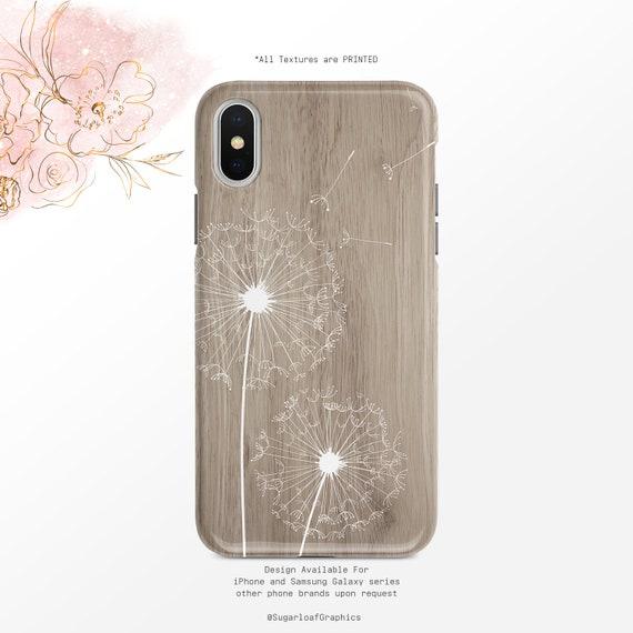 Dandelion Art Phone Case Gray Wood Grain Iphone Case Floral Samsung Case Iphone X Case Iphone Xs Case Iphone Xr Case Google Pixel Case