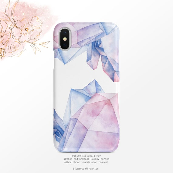 Purple Pink Crystal Pattern Ombre Watercolor Iphone Case Samsung Case Iphone X Case Iphone Xs Case Iphone Xr Case Google Pixel Case Xs Max