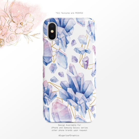 Purple Pink Crystal Pattern Gold Geometric Watercolor Iphone Case Samsung Case Iphone X Case Iphone Xs Case Iphone Xs Max Case Google Pixel