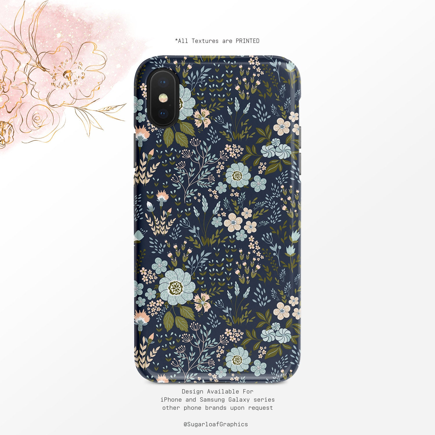 Blue And Pink Floral Pattern Phone Case Navy Iphone Case Etsy