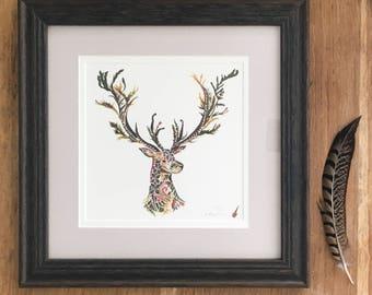 Framed Limited Edition Print - Pressed Fern Stag Bust - Giclée Print - Herbarium Woodland Artwork