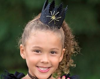 Halloween Spider Crown Headband - Aspen - Gold & Black - All ages