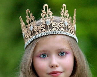 Royal Queen Lace Crown - Quinn - Lace Crown - Gold - Full Size - Baby Toddler or Adult - Tiara - Princess - Photo Props - Birthday