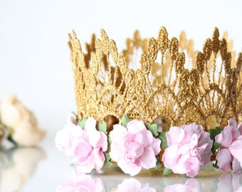 First Birthday Lace Crown gold + baby pink flowers - headband - photography prop - customize with any age upgrade - Mini Lainey
