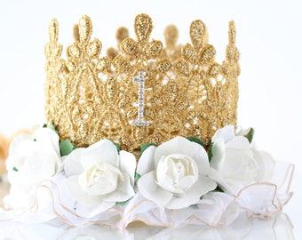 White and Gold First Birthday Crown - Lace - Birthday Crown - Headband - Photo Prop - Mini - Bling - Cake Smash - 1st - Tiara - Hat- Ruffle