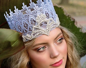 Glenda The Good Witch Silver Lace Crown with Crystals - Glinda - Lace Crown - Halloween - Toddler - Adult - Photo Prop - Wizard of Oz