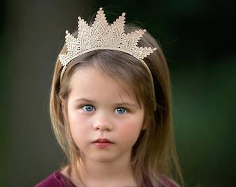 Gold Birthday Princess Tiara Lace Crown - Aspen - Tiara - Photo Prop - Customize Any Color