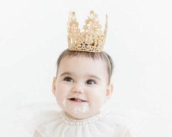 Quinn Birthday Crown Silver or Gold - Headband - Birthday Crown - Lace - Cake Topper - Mini - Tiara - Party - Baby - Toddler - Cake Smash