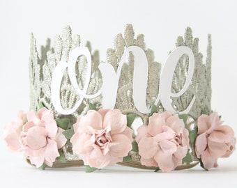 First Birthday Crown + white cursive one + blush flowers    first birthday crown    headband    photography prop    Lainey