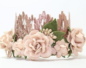 Boho Flower Birthday Crown    rose gold + blush flowers    first birthday crown    headband    photography prop    Lainey