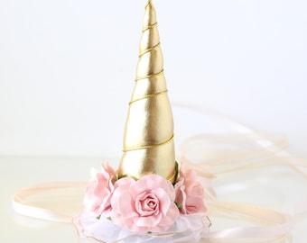 Unicorn Horn Flower Crown Headband - Pink + Gold - Unicorn Headband - Photography Prop - Rocking Horse - Pony - Carousel - Birthday