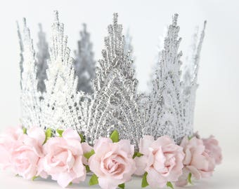 Aspen Silver + Light Pink Fist Birthday Crown Headband - Lace Crown - Cake Smash - Dress up - Photography Prop - Tiara