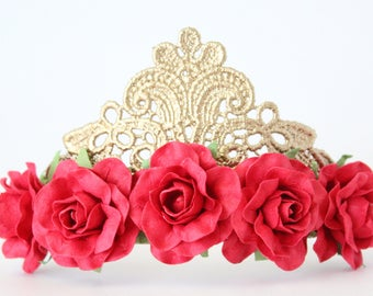 NEW Princess Lace Gold Tiara Crown with Red Flowers - Mae - Princess Tiara - Adult - Toddler - Baby - Photography Prop