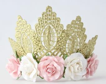 Gold Princess lace Tiara Crown with Pink + White Rose Flowers - Penelope - Tiara - Boho - Birthday - Flower Girl - Bridesmaid - Photo Prop