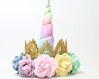 BOHO Birthday Flower Unicorn Headband Crown - Gold + PASTEL Rainbow + Flowers - Unicorn Headband - Photography Prop - Cake Smash