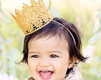 Princess Birthday Crown Headband - Lace - Birthday Crown - Gold - Mini - Baby - Toddler - Adult - Tiara  - Costume - Smash Cake - Photo Prop