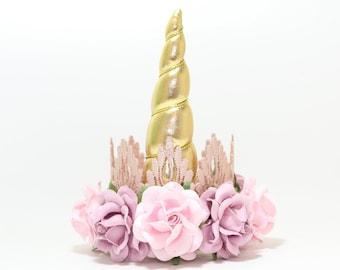 BOHO Birthday Flower Unicorn Headband Crown    Gold + Lavender + Pink    Unicorn Headband    Photography Prop    Cake Smash