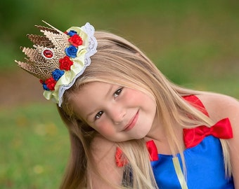 Snow White Inspired Lace Crown Headband - yellow trim + blue + red flowers - Halloween - Photography Prop - Cake Smash