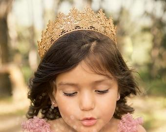 Toddler Gold Lace Princess Crown - Chloe - Gold Crown - Baby - Adult - Tiara - Dress Up - Headband - cake topper - cake smash - party