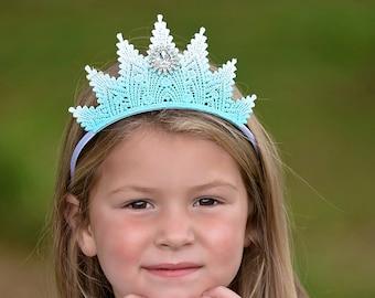 Elsa Frozen Inspired Princess Tiara Lace Crown - Aspen - Princess Tiara - Photo Prop - Ice Queen - Winter Wonderland - Halloween