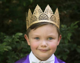 Gold Birthday Crown for Boy Prince - Adeline - Unisex - Full SIze - Toddler thru Adult - Cake Smash - Photography Prop - First Birthday Boy