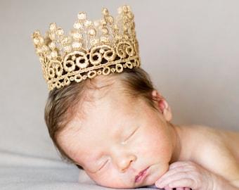 Gold Newborn Crown for baby girl or boy - Kane - Gold Crown - Lace - Prince - Princess - Mini - Tiara - Headband - Cake Topper