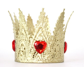 New Full Size Red Queen Of Hearts Gold Lace Crown Quinn Etsy
