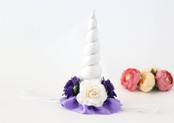 Unicorn Horn Flower Crown Headband White Purple Unicorn  aa3a0bce052