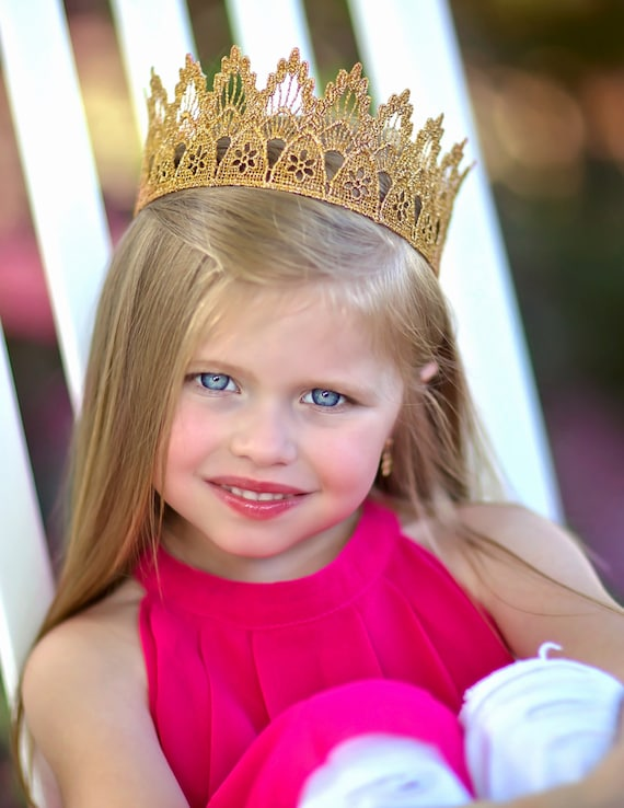 Gold Lace Princess Birthday Crown Lainey Full Size Adult  0428670d31bc
