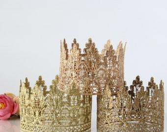 Lola Gold Lace mini Tiara Birthday Crown Girl - Headband - Lace Crown - 1st - First - Baby - Newborn - Princess - Prince - Cake Smash