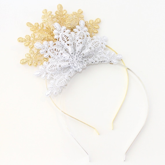 Lace Crown Flower Fascinator Headband Ivy Gold or Silver  538346d614c