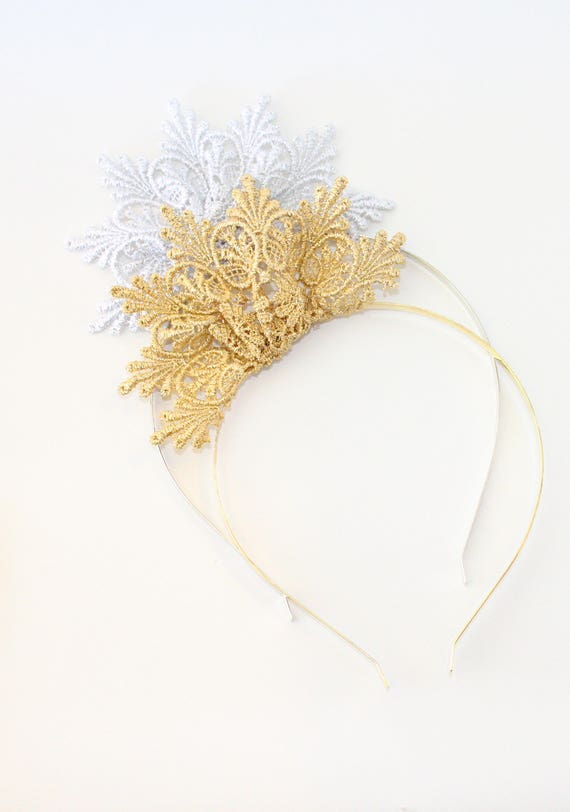 Lace Crown Flower Fascinator Headband Chloe Gold or Silver  e6dcbdc43cf