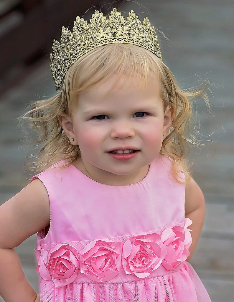 18K Gold Lace Crown for Toddler Girl or Boy Adult  bb1ef6e731e8