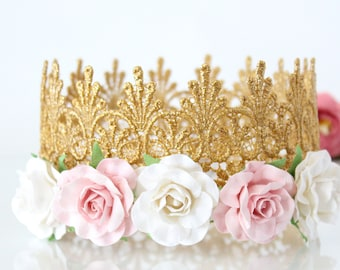 Pink + White Flower Crown for Birthday -Adult - Toddler - Baby - Photo Prop - Full Size - Gold Crown - Cake Smash - Hen Party