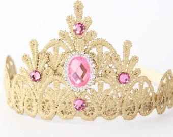 Princess Lace Tiara Crown Headband with Pink Rhinestones - Select Color - Customizable - Photography Prop - Smash Cake - Chloe