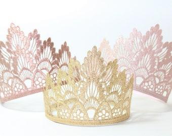 Birthday Princess Tiara Lace Crown - Lainey - Toddler thru Adult