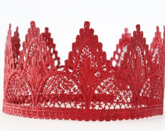 Red Birthday Lace Crown - Adeline - Lace Crown - Adult - Toddler - First - Hen Party - Cake Smash - Photography Prop
