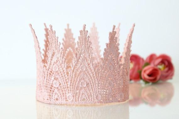 Pink Champagne First Birthday Crown Headband Mini Aspen Lace  6c19dd7cb0c5