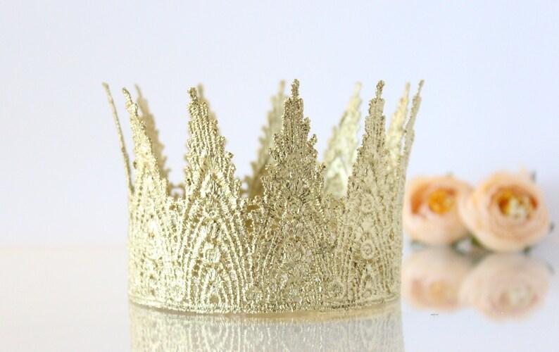 18K Gold Birthday Crown Headband Lace Mini Aspen First  5969f2dc0907