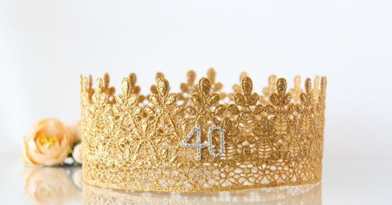 40th Gold Birthday Crown Lace Birthday Crown Adult  5ae00017f697