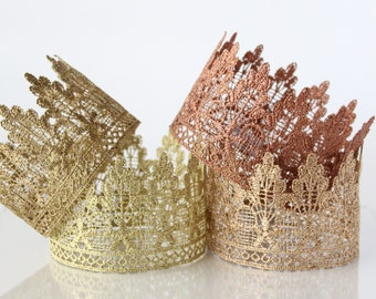 Gold Lace Crown Headband For Girls or Boys - Lola - Lace Crown - Party Hat - Copper - Princess - Prince - Queen - King - Birthday - Prop