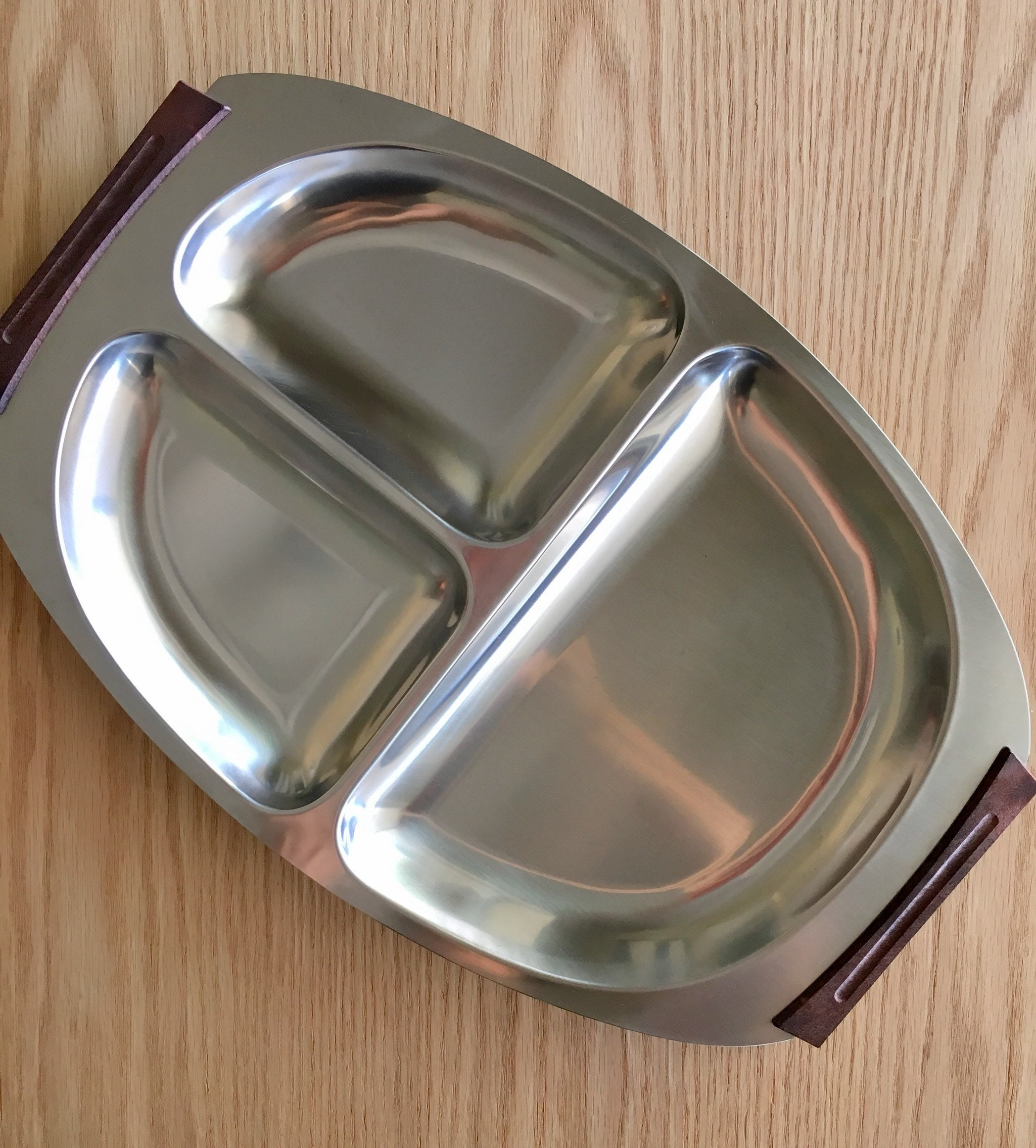 Mid Century Danish Modern Stainless Steel Divided Tray with Wood Handles