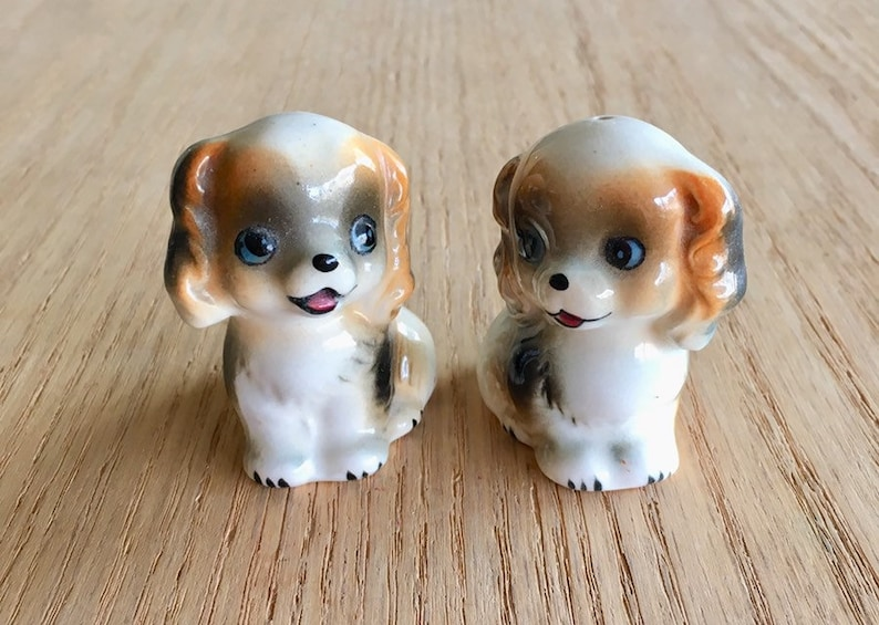 Vintage puppy salt and pepper shakers made in Japan mid century