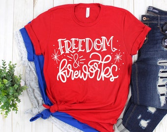d79b6b5d Fourth of July shirt, womens fourth of July top, freedom and fireworks,  patriotic shirt for women, american flag 4th of july shirt for women