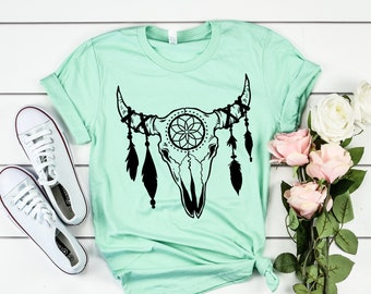 13e31a3b3 Boho cow skull shirt, skull with feathers shirt for women, boho graphic tee,  gypsy graphic tee, cow skull shirt for women, bohemian shirt