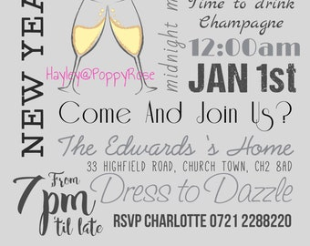 new years eve party invitation digital file download