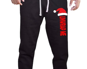 104864b406 New Santa Hat Unwrap Me V626 Men's Joggers Sweatpants Black S-2XL