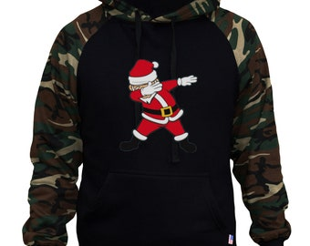 3092b49bbd441 Men s Dabbing Santa Claus Black Camo Hoodie All size S-3XL