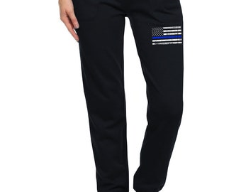 e047ad6b9a06e1 Junior's Thin Blue Line Police Flag Black Jogger Sweatpants S-L